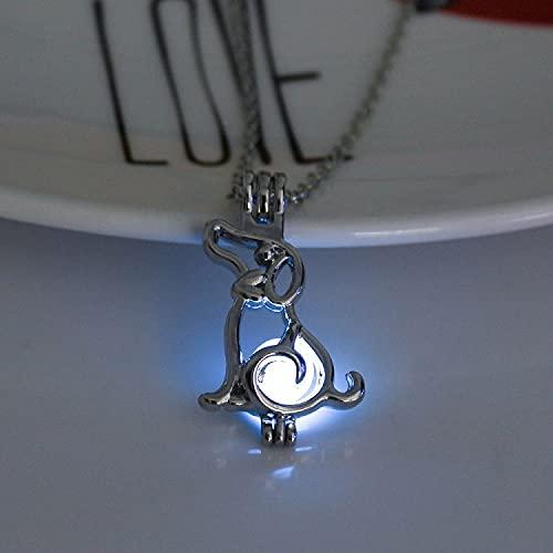 YQMR Collares Luminoso Colgante,Señoras Azul Luminoso Perro Moda Ahueca hacia Fuera El...