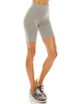 EttelLut Running Athletic Yoga Walking Bike 7  Inseam Cotton Leggings Shorts for Women high Waisted Gray XL