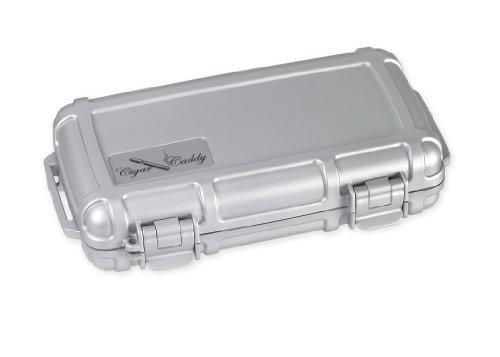 Cigar Caddy 3400-R Silver 5 Cigar Waterproof Travel Humidor, Silver Rubberized Exterior