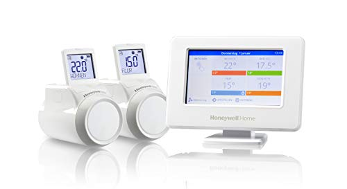 Honeywell Home THR99C3102 evohome Starter Pack, incl. termostato Wi-Fi Smart e 2 Teste termostatiche Wireless per radiatori, Bianco (3 Pezzi)