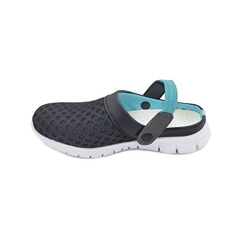 [HAPLUE] サンダル スリッパ 室内履き 超軽量 男女兼用 (22.5?27.5cm) (黒と水色, 22.5 cm)