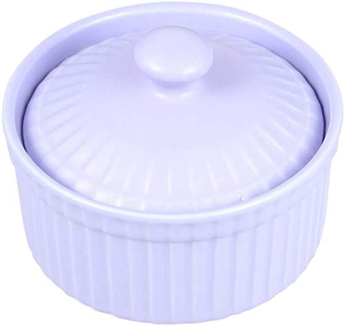 Chip Resistant Earthenware Mixing Bowl Unbreakable Cereal Bowls,Ceramic Baking Bowl Heat Resistance Bowl Pudding Jelly Cup Dessert Small Bowl for Home Kitchen with Lid (Purple) Creative Hand-Painted F