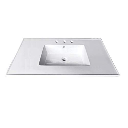 Kingston Brass LBT31227W34 Continental 31 X 22-Inch Ceramic Vanity Top with Integrated Basin 3H, White