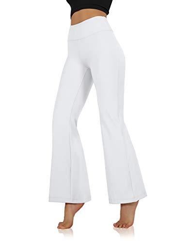 ODODOS Women's Mid Waisted Bootcut Yoga Pants Tummy Control Non See Through Bootleg Gym Workout Pants with Inner Pocket,White,Medium