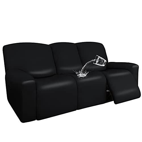 Easy-Going PU Leather Recliner Sofa Slipcovers, Waterproof Stretch Sofa Covers, 8 Pieces Stretch Furniture Protector, Elastic Strap Shield Pets Kids Children Cats Dogs Black