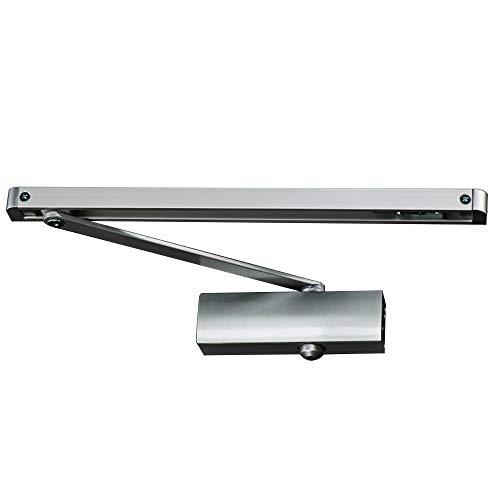 PALMAT Automatische einstellbare hydraulische Türschließer mit Gleitschienenarm und Eisenabdeckung für Schwerlastbereich (Silber)