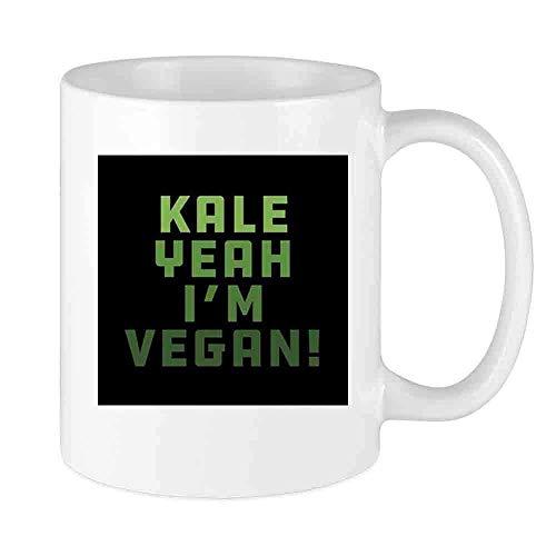 N\A Funny Coffee Mug Kale Yeah Im Vegan Custom Mug Unique Ceramic Novedad Hombres y Mujeres Que aman Las Tazas de té y la Taza de café 12 oz