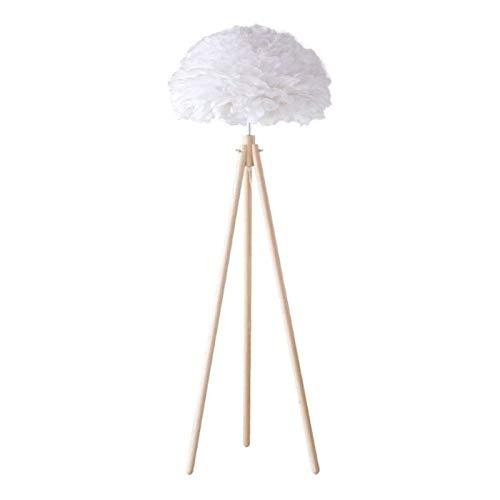 Lámpara de Pie Trípode moderna Lámpara de pie Lámpara de pie con la pluma de la pluma blanca de la cortina de madera clara Permanente for los dormitorios/sala de estar/comedor/oficina Lámpara de