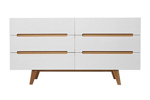 CAGUSTO Sideboard Linsell lV Highboard Kommode weiß matt Soft-Close Eiche Holz massiv in Danish mid Century skandinavisch Design