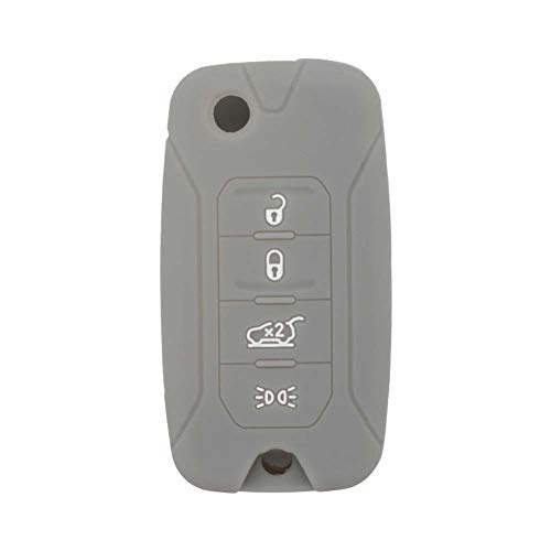 BROVACS Coque de protection en silicone pour clé télécommande à 4 boutons Jeep Renegade CV4757 Gris