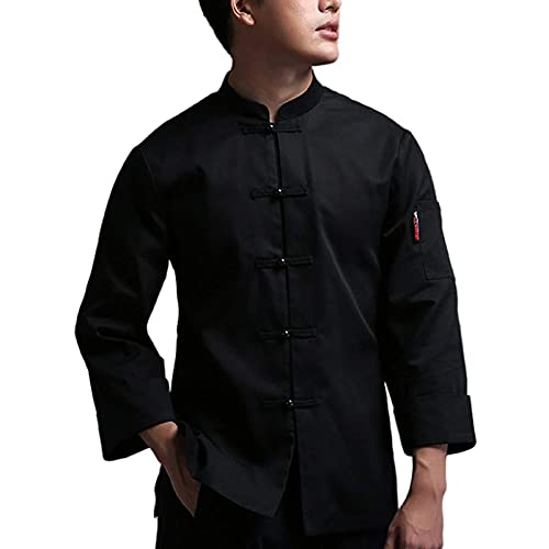 GAOSHENGWUJINGD Chef Coat Men Women Unisex Chef Uniform Long Sleeve, Cooking Kitchen Chef Jackets Restaurant Catering Shirt Canteen Restaurant Chef Coat Food Service (Color : Black, Size : E(3XL))
