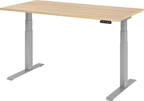 bümö® Sitz & Steh Schreibtisch elektrisch höhenverstellbar mit Memoryfunktion (Tischplatte: Eiche | Gestell: Silber, 160 x 80 cm)