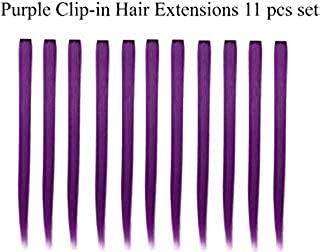 Beaute Galleria Bundle 11 Pieces Single Color 21 Inches Straight Party Highlights Clip In Synthetic Hair Extensions Cosplay Comic Con Halloween Costume (Purple)