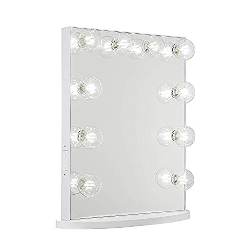 Impressions Hollywood Glow Lite Vanity Mirror with 10 LED Lights, Tabletop or Wall Mounted Makeup Vanity Mirror with Dimmer Switch and Power Outlets (White)