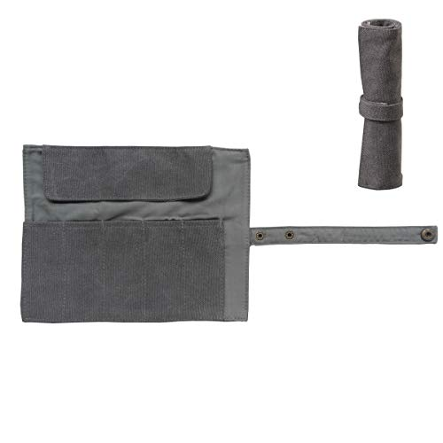Enyuwlcm Canvas Stationery Handmade Rollup Pencil Case Travel Fountain Pen Organizer Bag Pencil Wrap Gray