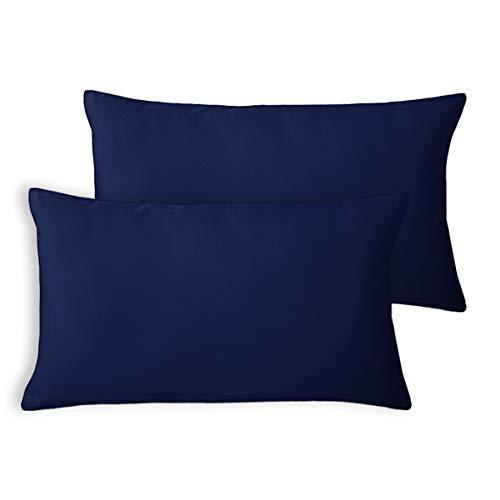 Encasa Homes Housses de Coussin Velours, Set de 2 pièces (30 x 50 cm) - Bleu Marine - Teinture Couleur Unie, Doux et Moelleux, Lavable, Grand Coussin décoratif carré pour canapé, Sofa, Chaise