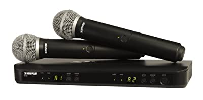 Shure BLX288/PG58 Dual Channel Wireless Handheld Microphone System with 2 PG58 Vocal Mics, J10 Band (584-608 MHz) from Shure Incorporated
