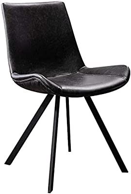 VEESYV Modern Dining Chair PU Leather High Back Padded Soft Seat Lounge Chair Carbon Steel Feet,Non-Slip Foot Pad (Color : Black)