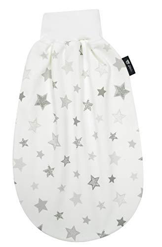 Alvi Baby Schlupfmäxchen light Exclusiv | Schlafsack 0-6 Monate | Baby-Schlafsack 100% Baumwolle | Sommerschlafsack waschbar, Design:Silver Stars silbergrau 786-9