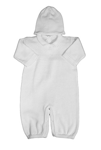 Boy's White Cotton Knit Christening Baptism Longall w/White Cross and Hat 18 Mo