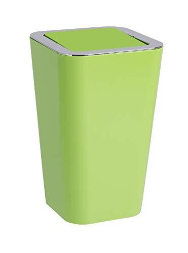 Wenko Kosmetikeimer Candy 6 Liter, Badezimmer-Mülleimer mit Schwingdeckel, Abfalleimer aus Kunststoff, 18 x 28,5 x 18 cm, grün