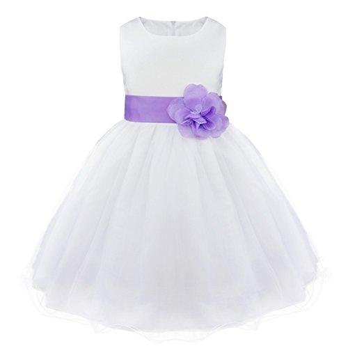FEESHOW Mädchen Prinzessin Kleid Festliches Blumenmädchenkleid Ärmellos Tutukleid Gürtel mit 3D Blume Partykleid für Taufe Hochzeit Geburtstag Weiß Lavendel 128/8 Jahre