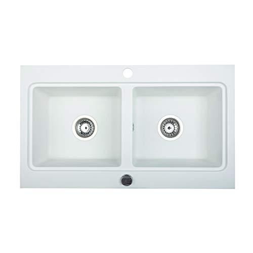 BRENOR Nubiru - Fregadero de cocina, Rectangular de Granito con Desagüe Desplegable, Tamaño 79,5 x 45,5 cm, Blanco