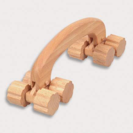 HOFMEISTER® Massage-Gerät aus Buchen-Holz, gegen Verspannungen & Schmerzen, Wellness & Entspannung für den Rücken, Naturprodukt aus Europa, Massage-Roller, 8 Räder, 20 cm