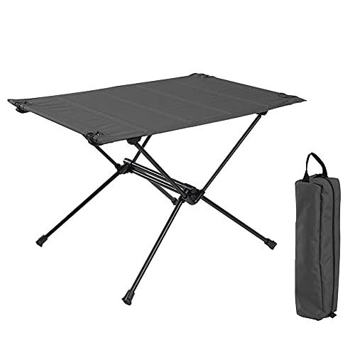 Mesa de camping portátil, mesa plegable, ultraligera de aleación de aluminio enrollable con bolsa de almacenamiento, ideal para exteriores, picnic, cocina, playa, senderismo, pesca (negro)