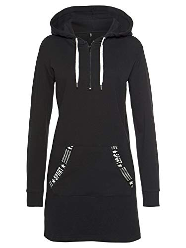 TrendiMax Damen Hoodie Kleid Herbst Langarm Sweatshirts Kapuzenpullover Streetwear Jumper Pullover Mini Kleider, Schwarz, XL
