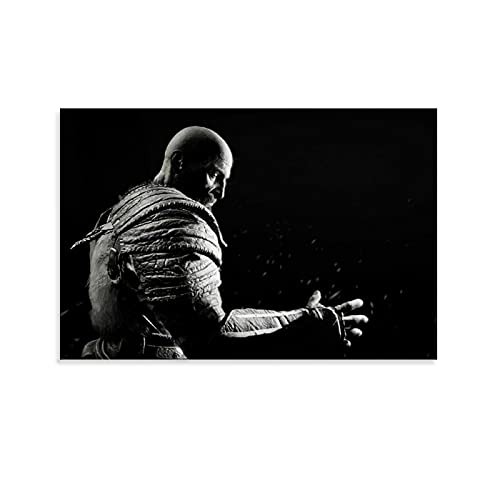 TRHD Dios de la guerra Kratos blanco y negro Arte de la moda Foto de personajes de celebridades Pintura decorativa lienzo arte de la pared de la sala de estar carteles pintura dormitorio 30 x 45 cm