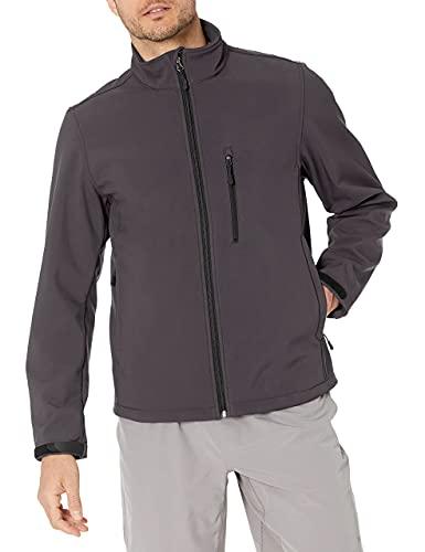 Amazon Essentials Water-Resistant Softshell Jacket Chaqueta, Gris (Dark Grey), Medium