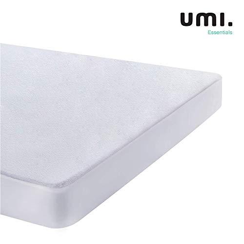UMI. Essentials Waterdichte Matrasbeschermer Wasbare Matras Protector 100% Katoenen Badstof Wit Tot 30cm - 140x200cm
