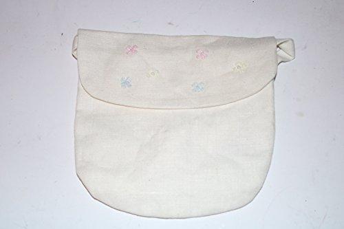 Käthe Kruse Kommuniontäschchen Tasche, Beutel Tasche zum Kommunionkleid Täschchen mit Stoffband. 100% Leinen Täschchen mit Blumen
