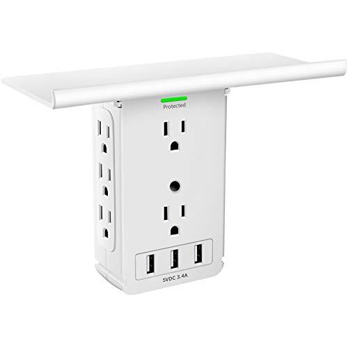 Socket Outlet Shelf 8 Outlet Surge Protector, Wall Outlet Shelf Outlet Extender with 3 USB Charging Port, Bathroom Outlet Plug Expansion Shelf(8AC3USB-Surge Protector)