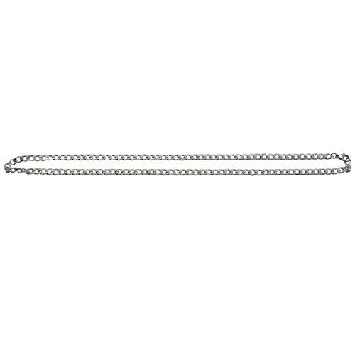 Fltaheroo Hombres Cadena de Eslabones Anchos del Collar de Acero Inoxidable, Plata, Ancho 5 Mm, Longitud 48 Cm (con Bolsa de Regalo)