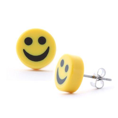 DonDon runde Ohrstecker mit Smiley Motiv gelb 10 mm Ø und Edelstahl Stecker