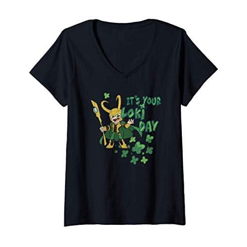 Donna Marvel Kawaii It's Your Loki Day Shamrocks St. Patrick's Day Maglietta con Collo a V