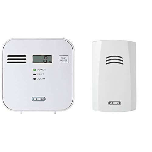 ABUS Kohlenmonoxid-Warnmelder COWM300 CO-Melder | LCD-Display inkl. CO-Konzentration | 7 Jahre Sensor | Prüftaste | bis 60 m² | weiß | 37241 & Wassermelder HSWM10000, weiß, 55082