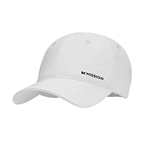 MISSION Cooling Performance Hat- Men's & Women's Cap, UPF 50 Sun Protection, Hook & Loop Close, Evaporative Cool Technology, Cools Instantly When Wet, Great for Golf, Running, Baseball- White