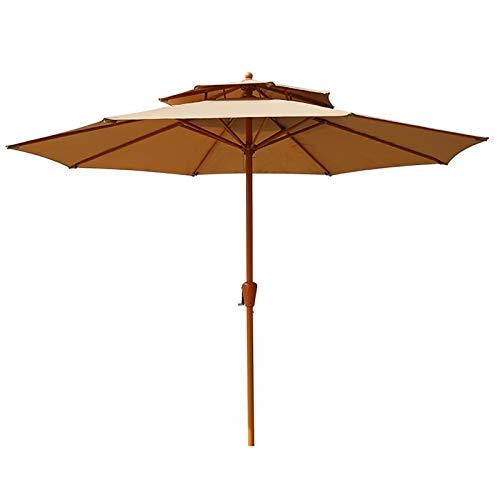 Sombrilla Paraguas de Mercado de Jardín Impermeable de 2 Niveles, con Ventilación y Manivela y 8 Varillas, Sombrilla con Toldo para Patio Al Aire Libre de 2,7m (Size : Khaki)