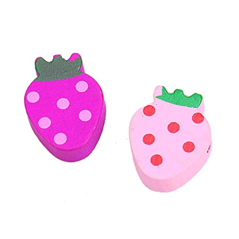 Monrocco 100PCS 19MM Mixed Color Strawberry Shape Wooden Shank Buttons Embellishment for Scrapbooking Sewing Craft