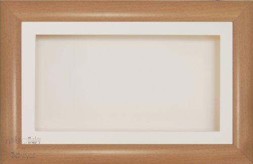 Anika-Baby écran 17,8 x 33 cm/33 x 17,8 cm Boîte en bois Cadre en effet hêtre avec carte Passe-partout crème et carte de dos, façade en verre 36,8 x 21,6 cm