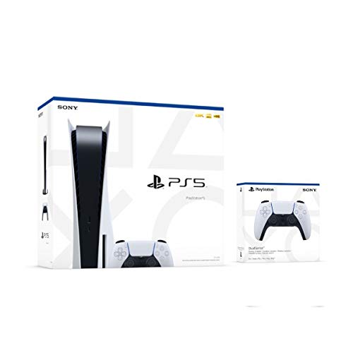 uShopMall 2021 Playstation Console Two Controller Bundle - PS5 Disk Version with Two Wireless Controllers and Hard Shell Controller Case