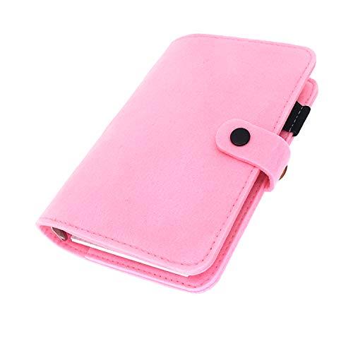 手帳 バインダー紐 システム カバー6穴 フェルト マテリアルシステムハンドブックビジネス学生6リングA5 A6ペンカード入れ, Pink 25, A6 mini set