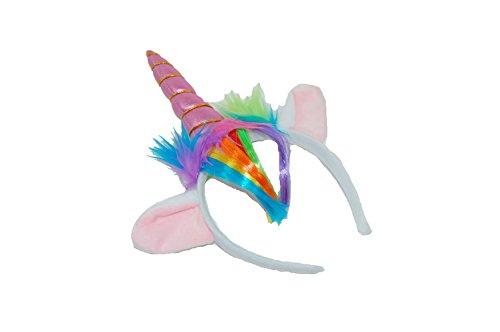 GIZZY - Set di corno con unicorno, criniera e orecchie su fascia per la testa (rosa)