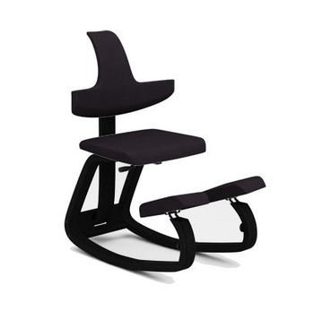Thatsit Balans by Varier Kneeling Chair Black Lacquered Structure - Black Fabric STE999 Seat