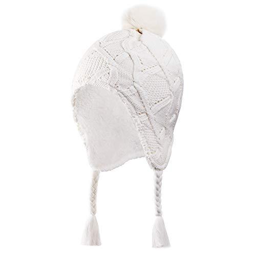 Connectyle Little Girls Winter Earflap Hat Kids Beanie Snow Ski Cap Knit Sherpa Lined Warm Hat White