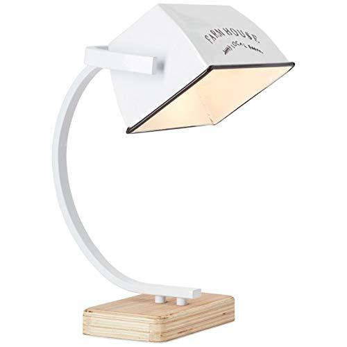 BRILLIANT lamp Davis tafellamp hout licht/wit glanzend |1x A60, E27, 40W, geschikt voor normale lampen (niet inbegrepen) |Schaal A ++ tot E |Draaibare kop