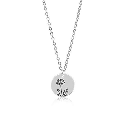Hunpta - Collar para mujer, diseño de flor de nacimiento en relieve, colgante redondo, cadena de clavícula, gargantilla, joyería de boda, regalo de cumpleaños